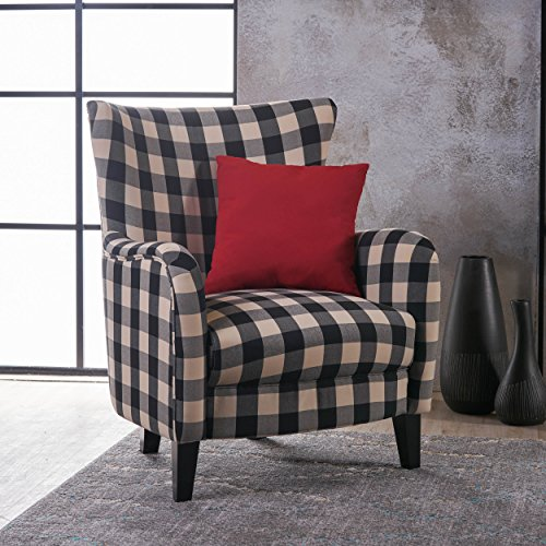 Christopher Knight Home 301061 Arador Fabric Club Chair, Black/White Plaid