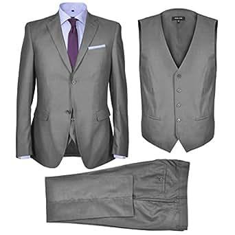 Imagen no disponible. Imagen no disponible del. Color  vidaXL Traje de  Chaqueta de Vestir Hombre de Negocios de 3 Piezas Talla 52 Gris f45cbe4d21c6