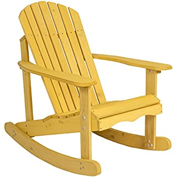 Charmant Best Choice Products Outdoor Adirondack Rocking Chair Natural Fir Wood Deck  Garden Furniture