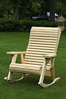 product image for Pressure Treated Pine Unfinished Outdoor High Comfort Roll Back Rocker