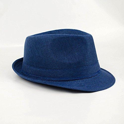 Gysad Diseño Simple Jazz Cap Lino de imitación Sombrero Panama Transpirable  y Ligero Sombrero Hombre Sombrero Hombre Verano Size 56-58CM (Azul Cielo)   ... 241a228cede9