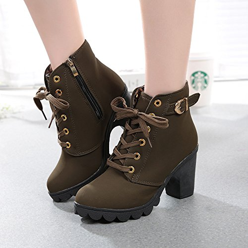 Green Shoes High Platform MOIKA Boots Resistant Army Ankle Up Lace Wear Heeled Boots Womens OnPgfHqAP
