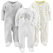 Simple Joys by Carter's Baby 3-Pack Sleep and Play, Elephant, Stripe, Giraffe, 3-6 Months