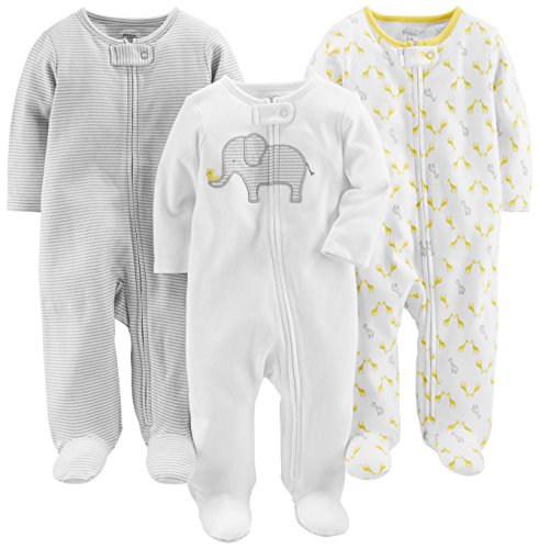 Simple Joys by Carter's Baby 3-Pack Neutral Sleep and Play, Elephant, Stripe, Giraffe, 0-3 Months ()