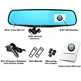 """Official HD Mirror Cam – As Seen on TV Dash Cam 350°, Motion Detection, 2.5"""" LCD, 720P HD, Dashboard Camera Video Recorder, Built-In Rechargeable Battery, Loop Recording, Night-mode"""