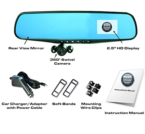 "Official HD Mirror Cam – As Seen on TV Dash Cam 350°, Motion Detection, 2.5"" LCD, 720P HD, Dashboard Camera Video Recorder, Built-In Rechargeable Battery, Loop Recording, Night-mode"