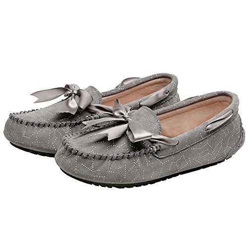 rismart Womens Flat Formal Dress Slip On Bowknot Leather Loafers Shoes Grey qtEu8XCiQ
