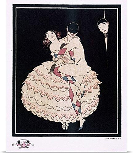 Commedia Dellarte Lovers Costumes (George Barbier Poster Print entitled Karsavina, 1914)