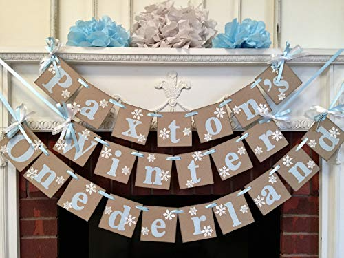 Winter Onederland Birthday Decor - I am 1 Photo Prop - Onederland Snowflake Decor - 1st Birthday Garland Boy/Girl - CUSTOMIZE the Name and the colors