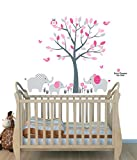 Fabric Wall Decals, Animal Decal, Elephant Tree Decal, Pink and Gray