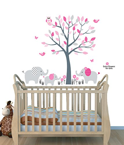 Fabric Wall Decals, Animal Decal, Elephant Tree Decal, Pink and Gray (Best Gray Paint For Nursery)