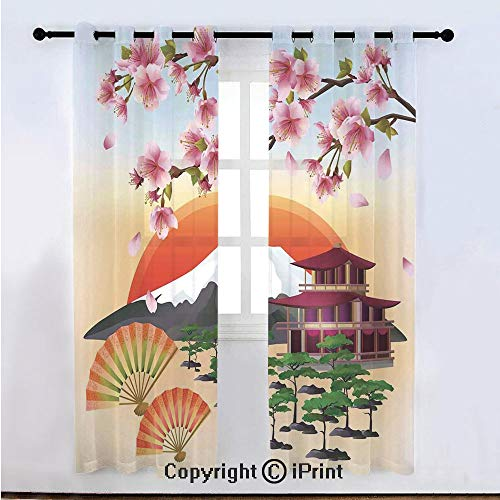 Nature Semi Sheer Voile Window Curtain With Drapes Grommet,Sakura Blossom Art with Flying Petals Fans Bonsai Pagoda Mountain Rising Sun,for Bedroom,Living Room & Kids Room(108