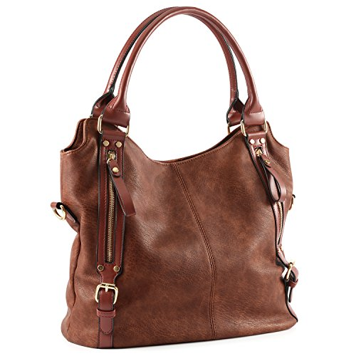 Plambag Women Faux Leather Hobo Handbag Large Tote Purse(Coffee)