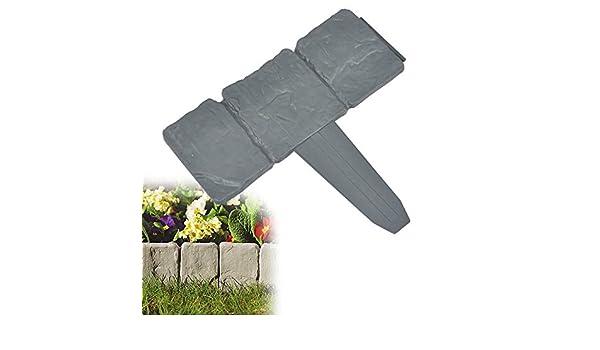 Cenefa para jardín, pack de 10, color gris oscuro, imitación ...