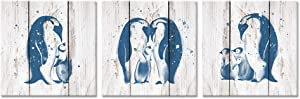 ZingArts 3 Pieces Animals Painting Canvas Wall Art Teal Blue Penguin Family Love On Vintage Wood Background for Living Room Bedroom Bathroom Stretched and Framed Ready to Hang 12x12inchx3pcs