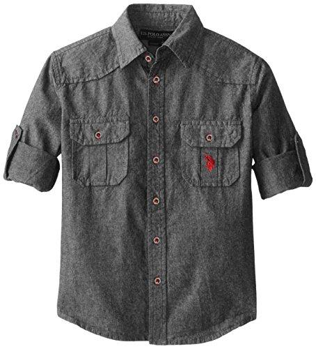 us-polo-assn-boys-long-sleeve-chambray-sport-shirtsf78-medium-grey-10-12