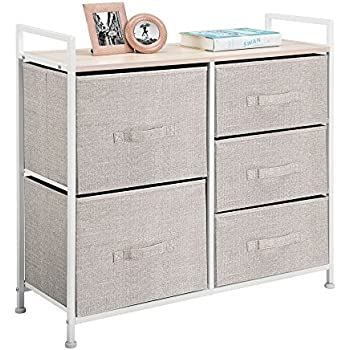 MDesign Wide Dresser Storage Tower   Sturdy Steel Frame, Wood Top, Easy  Pull Fabric Bins   Organizer Unit For Bedroom, Hallway, Entryway, Closets    Textured ...