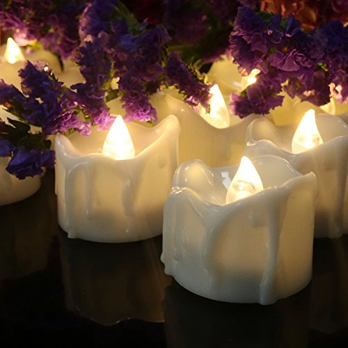 Frestree Flameless Candles, Led Tealight Candles with Timer, Flameless Flickering Votive Tea Lights Candles Bulk Battery Operated, Outdoor Tealights(Warm White 12 Pack)