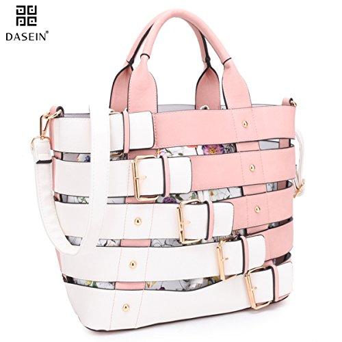 Design Leather Tote Bag (Dasein Women Medium Tote Purse Buckles Design Handbag Satchel Bags Laptop Bag)