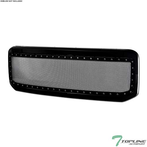(Topline Autopart Black RVT Rivet Bolt Mesh Front Hood Bumper Grill Grille Steel With ABS Shell For 05-07 Ford F250 / F350 / F450 / F550 Superduty ; 2005 Excursion)