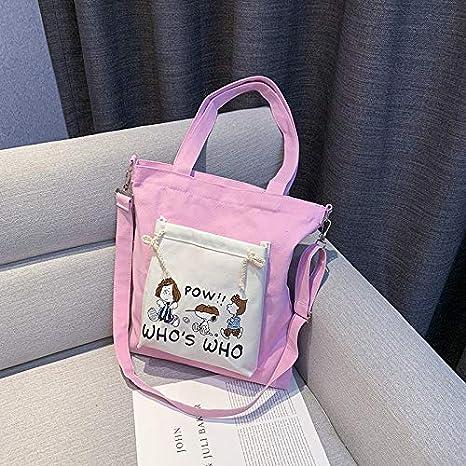 Cwenjing La Sra Bolsa de Tela Bolsa de Tela Impresa Golpe Color de la Manera Mochila Durable para Viajes y Compras