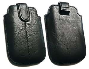 Emartbuy ® Negro Pu De Diapositivas De Cuero Asegurado En La Bolsa / Caja / Manga / Soporte (Tamaño Grande) Con Mecanismo Pestaña Adecuada Para Htc Chacha