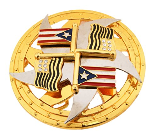 Big Puerto Rico Usa Flags Spinner Belt Buckle Cowboy Girly Rodeo Western Unisex