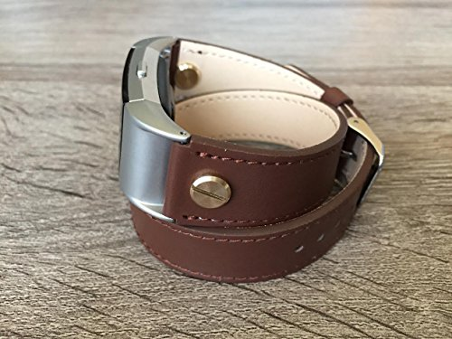 Designer Brown Double Wrapped Eco Friendly Leather Bracelet For Fitbit Charge 2 With Gold Rivets Handmade Replacement By -