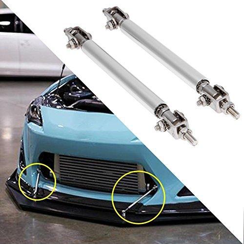 Whitelotous 2pcs Universal 100mm Adjustable Car Auto Front Bumper Lip Splitter Spoiler Strut Rod Tie Support Bars(Silver) (Adjustable Spoilers)