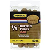 "General Tools 311012 1/2"" Button Plugs, Oak, 50-Pack"