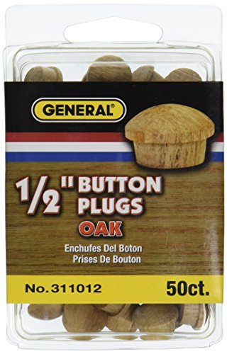 General Tools 311012 1/2-Inch Button Plugs, Oak, 50-Pack