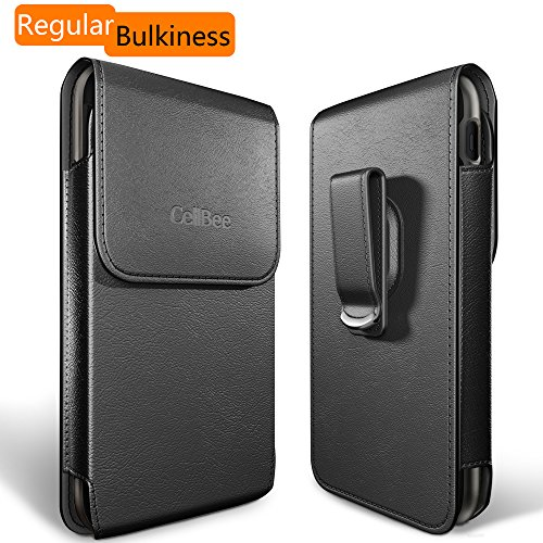 Dreo [CellBee Series] Universal PU Leather Heavy Duty Vertical Cellphone Holster Case with Belt Clip for Smartphones (Regular Bulkiness)