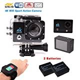 4K Sports Camera, Yeholding Action Waterproof Camera WiFi - 2.0 Inch Ultra 1080P Full HD DV 16MP 170 Degree - 30M Water Resistant Wifi Cameras with Remote Control,for Outdoor Sports Activities,Bicycle,Car DVR,Diving,Home Security (Black)