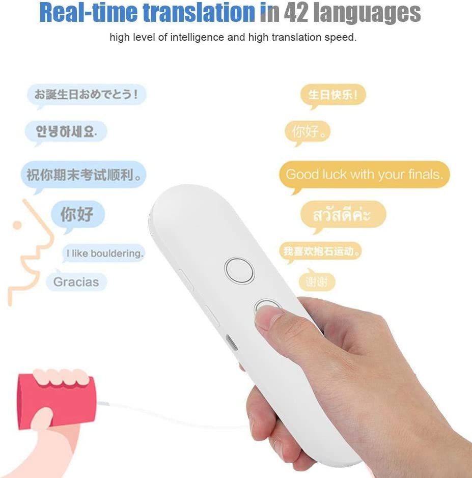 ECC. Nero Kafuty T4 Traduttore vocale Traduttore Bluetooth bidirezionale traduzione istantanea con 42 Lingue Adatto per lapprendimento dei Viaggi