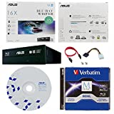 Asus 16x -BW-16D1HT Internal Blu-ray Burner Bundle with 100GB Verbatim M-Disc BDXL, BD Suite Disc and Cable Accessories