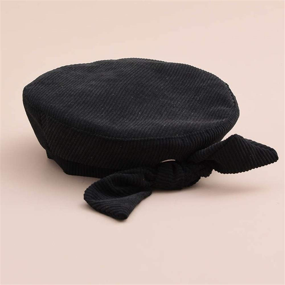 Female Autumn And Winter Solid Color Corduroy Beret Retro Wild Bow Painter Hat (Color : Adult black, Size : M) by ERNANGUA