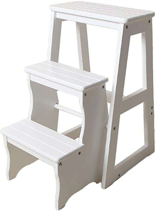 Folding Stepladder Wood 3 Step Stool For Adults /& Kids Kitchen Wooden Ladders Small Foot Stools Indoor Portable Shoe Bench//Flower Rack Color : BROWN