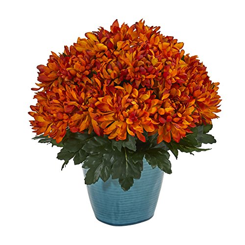 Nearly Natural 6558 Spider Mum Teal Planter Artificial Plant Orange