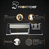 PriorityChef Knife Sharpener for Straight and Serrated Knives, 2 Stage Diamond Coated Sharpening Wheel System, Black