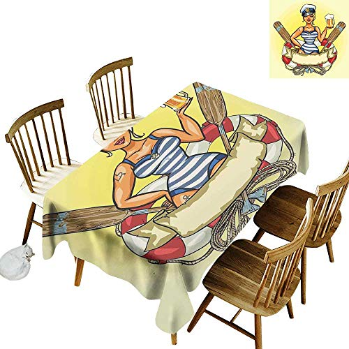 kangkaishi Girls Oil-Resistant and Durable Long Tablecloth Kitchen Available Pin-Up Sexy Sailor Girl Lifebuoy with Captain Hat and Costume Glass of Beer Feminine W14 x L72 Inch Multicolor -