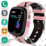 Kids Smart Watch GPS Tracker - 2019 New Waterproof Children Smart Watches with 1.4' Touch Screen 12 hrs SOS Phone Call Talkie Walkie Pedometer Fitness Sports Band for Boys Girls Age 4-12 (Pink)