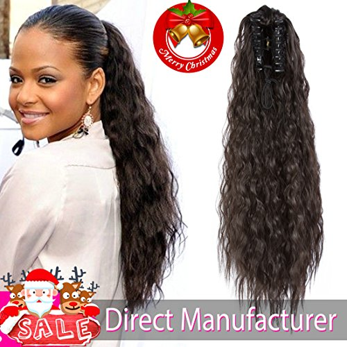 Ayana Synthetic Claw Ponytail Heat Resistant Yaki Straight Long Big Wavy Claw Curly Ponytail Clip in Hair Extensions (20'', Nature 2#)