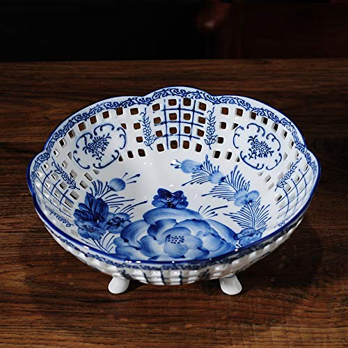 (Porcelain Candy Bowl/Fruit Bowl/Serving Bowl/Jewelry Tray/Nut Dish/Nut Bowl/Snack Serving Bowl/Fruit Dessert Storage/Candy Dishes, Perforated Hand made Hand Painted (Size: 10