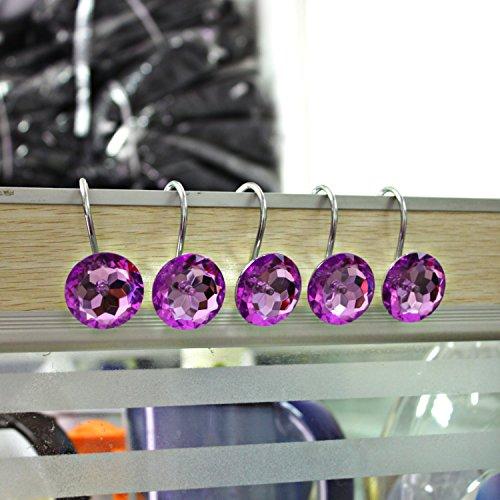 UPC 718399185146, Shower Curtain Hooks Diamond Shape Shower Rings/Round Acrylic Decorative Rhinestones Bling Rolling Bathroom Bath Set of 12 Rings