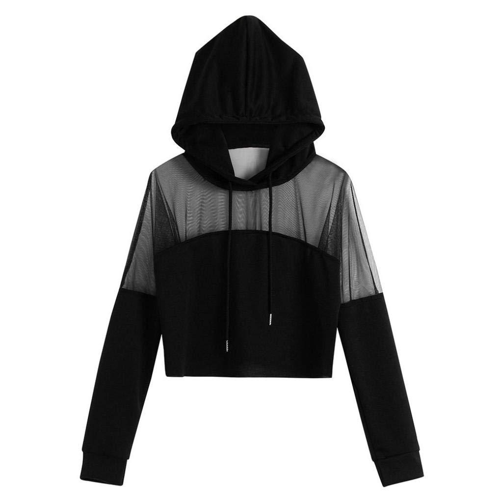 Hattfart Womens Casual Boho Solid Splice Eyelet Mesh Drawstring Crop Sweatshirts Hoodie Tops