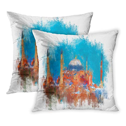 - Emvency Throw Pillow Cover Pack of 2, Blue Painting Oil Color Hagia Sophia Istanbul Watercolor Brush Turkey Canvas Minaret Paint Home Decor Square Size 16 x 16 Inches Cushion Pillowcase