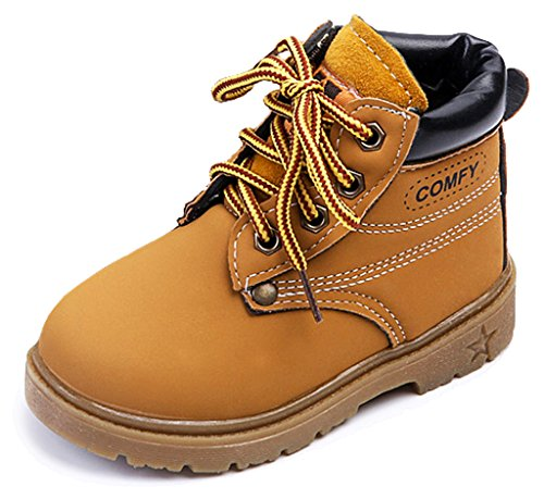 IOO Kids Classic Easy On Waterproof Winter Snow Work Boots for Girls and Boys Little Kid Wheat 29 (Cheap Cowgirl Boots Under 20)