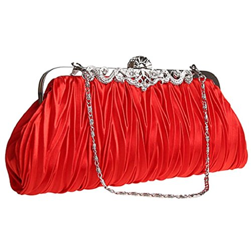 Ladies Evening Prom Satin Party Wedding Purse Bag Bridal Vintage Cocktail Bodhi2000 Red Clutch qfwHpxqT