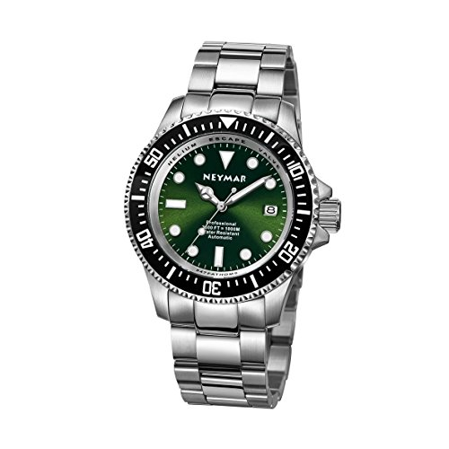 Luminova Markers (NEYMAR 44mm Automatic watch 1000m Dive stainless steel Green face 500m watch)
