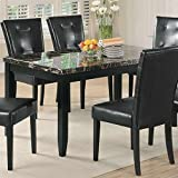 black dining room table Anisa Dining Table with Faux Stone Top Black